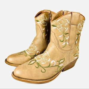 Rampage Cowgirl Ankle Boots Floral Light Brown 9.5